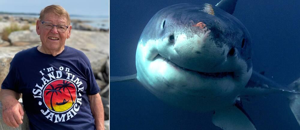 Man med t-shirt och haj