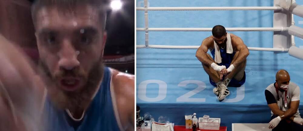 Den franske OS-boxaren Mourad Aliev skämde ut sig i kvartsfinalen i supertungvikt.