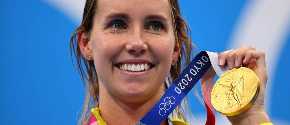 OS-drottningen Emma McKeon från Australien med att av sina fyra guld.
