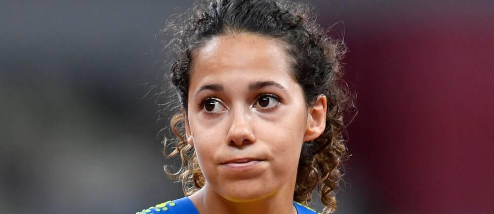 Sveriges Angelica Bengtsson under damernas final i stavhopp under torsdagens tävlingar i friidrott under sommar-OS i Tokyo.