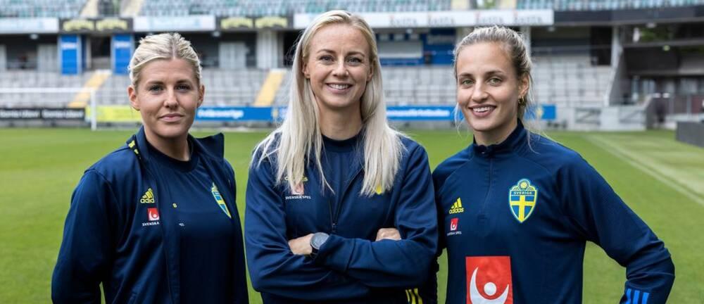 Sveriges Olivia Schough, Amanda Ilestedt och Nathalie Björn.