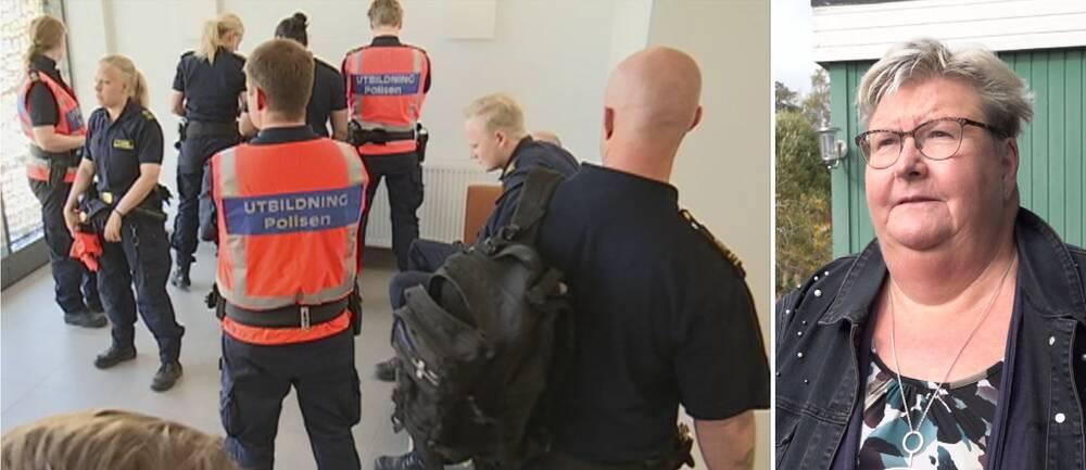 Delad bild. Till vänster står en grupp personer klädda i polisuniformer. Några bär väst med texten utbildning polisen på ryggen. Till höger en bild på en kortklippt kvinna med mönstrad tröja och jeansjacka.