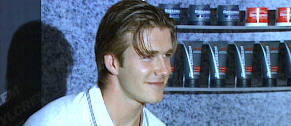 David Beckham vid en reklaminspelning.