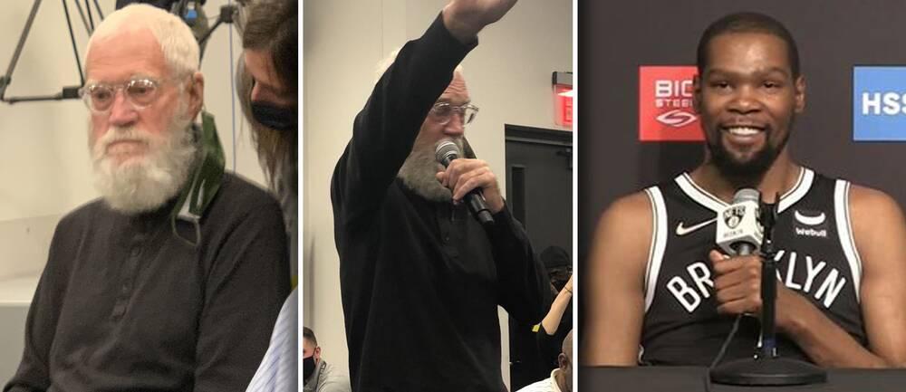 Tv-legendaren David Letterman dök oväntat upp på Kevin Durants presskonferens inför den kommande NBA-säsongen i basket.