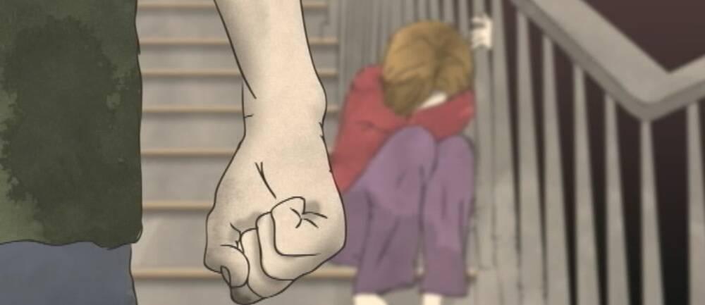 Tecknad bild av barn och våldsman.