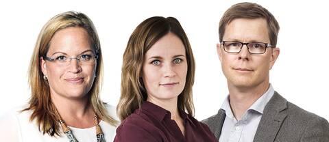 Porträttbild av tre personer, två kvinnor och en man