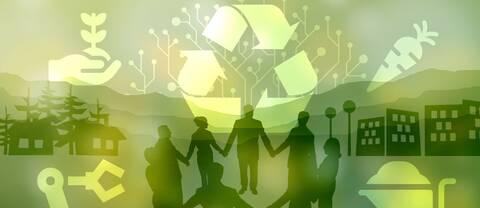 Tecknad bild med återvinningssymbol och människor som håller hand