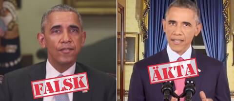 Medieföretaget BuzzFeeds falska Obama, till vänster, skapade stor uppmärksamhet tidigare i år.