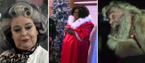 Till vänster en kvinna med silvriga lockar och scarf, i mitten en kvinna med tomtedräkt. Till höger en jultomte som kör bil och skriker.