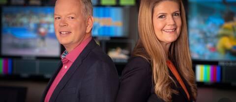 Programledarna Mats Nyström och Marie Lehmann.