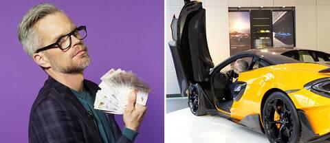 Alexander Norén med pengar och sportbil.