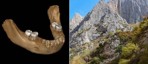 Animerade bild av käkbenet till vänster. Höger visar bergstoppar i Tibet.