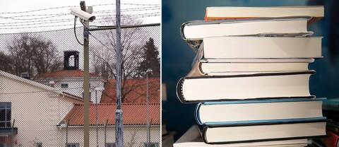 Bild på Hinseberg och bild på en hög med böcker.