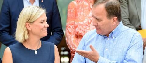 Finansminister Magdalena Andersson (S) och statsminister Stefan Löfven (S) när regeringen samlades på Harpsund i augusti för att se över det ekonomiska läget och förutsättningarna för 2020 års budget.