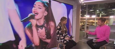Skärmdump från Morgonstudion där Rebecca Haimi intervjuar Per Sinding-Larsen. I bakgrunden en stor skärm med bild på Grande.