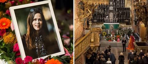 Två bilder som visar ett fotografi av Sara Danius och en överblick över Storkyrkan i Stockholm.