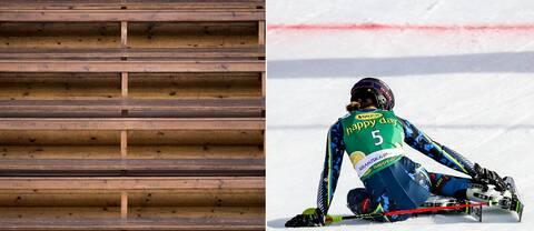 Tom läktare och en deppad alpinåkare Anna Swenn-Larsson.