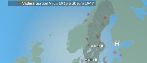 Väderläget i juli 1933 liksom juni 1947.