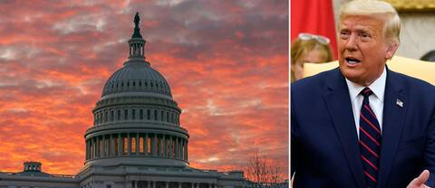 President Donald Trump och USA:s kongressbyggnad Capitolium i Washington