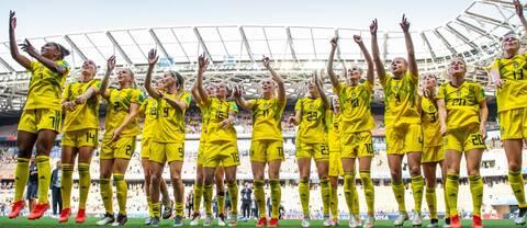 De jublande VM-bronsspelarna från 2019.