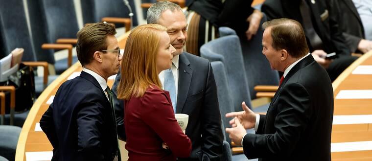 Ulf Kristersson, Annie Lööf, Jan Björklund och Stefan Löfven.
