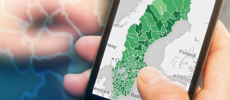 SVT Nyheters bredbandskarta.