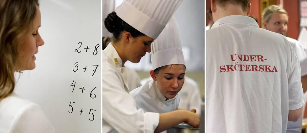 Lärare, kockar och vårdpersonal.