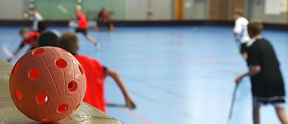 Röd innebandyboll med barn som spelar i bakgrunden