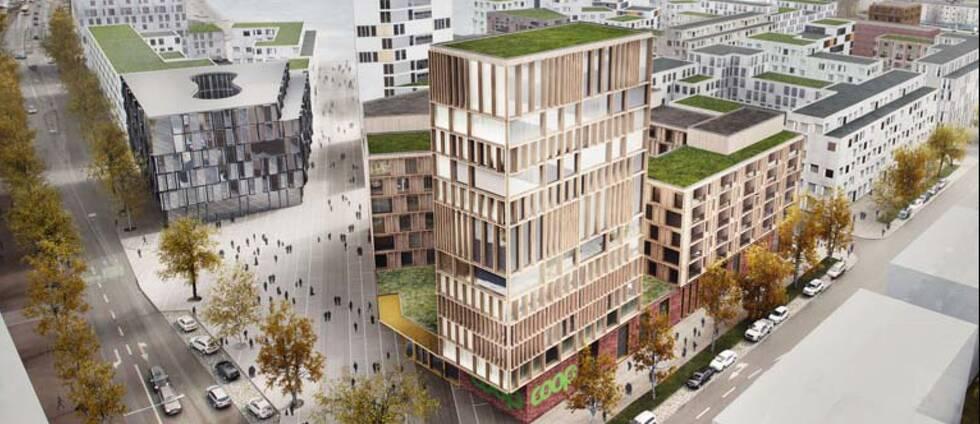 Arkitektritning över det nya området på Tullhomen i Karlstad.
