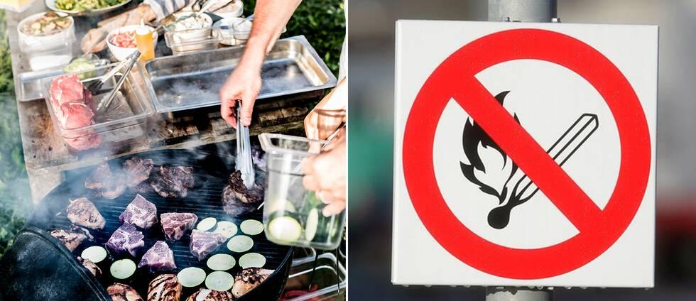 Delad bild: En på någon som grillar samt en bild på en skylt som visar att det råder eldningsförbud.