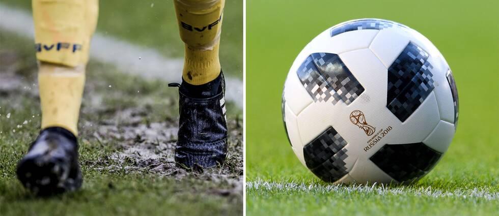 Fotbollsskor och fotboll.
