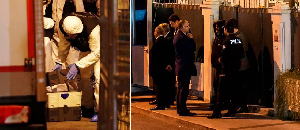 Under tisdagskvällen ska polisen genomsöka den saudiska konsulns hem i Istanbul (t.h). Det efter att bevis hittats under inspektionen på konsulatet på måndagskvällen (t.v).