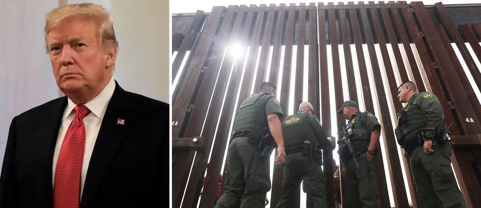 Bild på Trump till vänster. Bild på port vid gränsen mellan USA och Mexiko till höger.