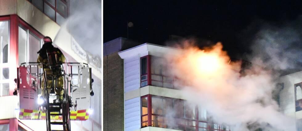 Räddningstjänsten bekämpade under lördagskvällen branden på åttonde våningen i Arlöv.