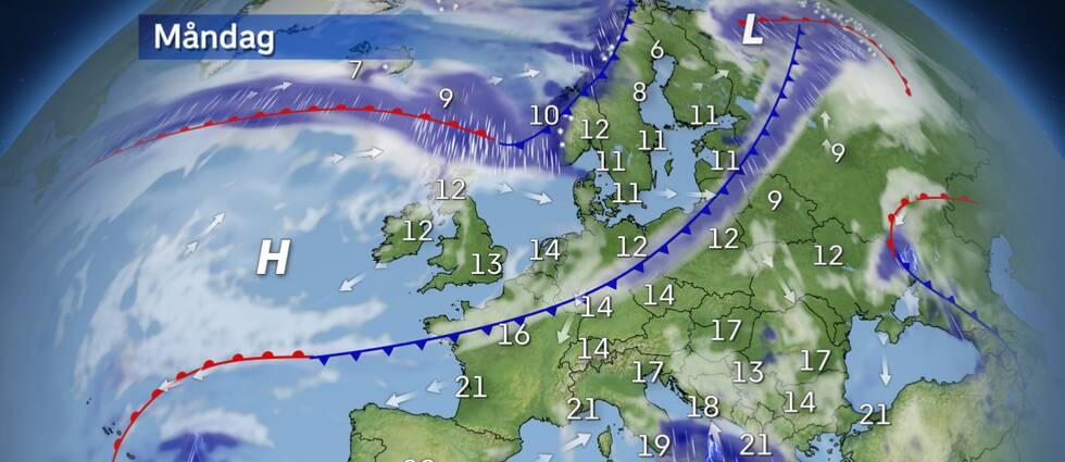 Europaväder: Kall luft tar sig ner över Skandinavien och fortsätter sin resa mot det forna Östeuropa. Ett kraftigt litet lågtryck kommer bildas och utvecklas över Joniska havet. Italien, Grekland och Albanien kommer få ta del av blåst, ymnigt med regn och åska.