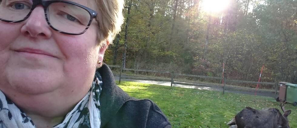 Lisbeth Claesson hittade under tisdagmorgonen en död älgtjur i trädgården.