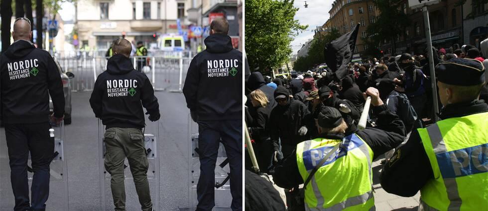 Personer från Nordiska motståndsrörelsen och Afa.