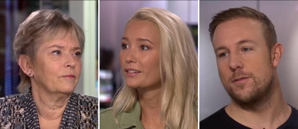 """Annika Öster, Ellen Bergström och Emil """"Heaton"""" Christensen i Morgonstudion."""