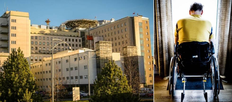 vy över sjukhus – stor tegelbyggnad, samt en person i rullstoll sedd bakifrån