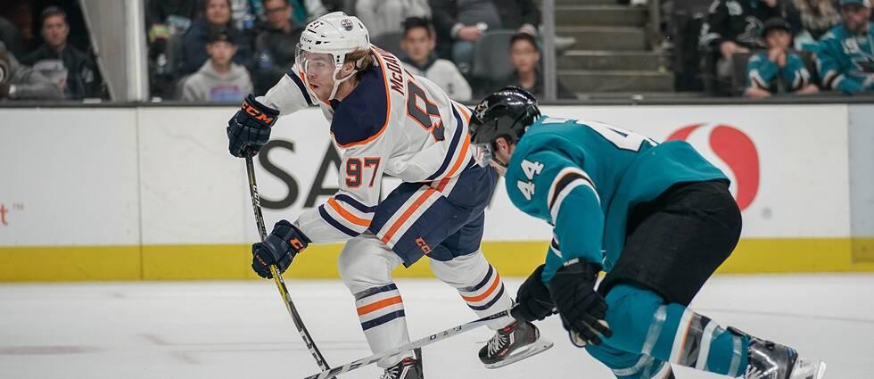 Edmontons stjärna Connor McDavid in action.