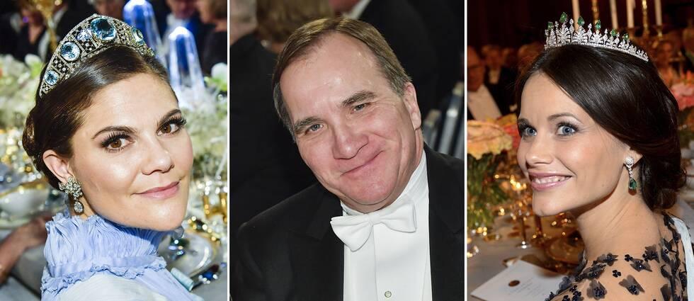 Kronprinsessan Victoria, statsminister Stefan Löfven och prinsessan Sofia sitter vid huvudbordet på Nobelfesten.