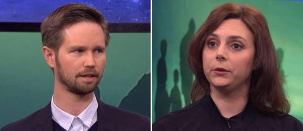 Rasmus Ling (MP) och Paula Bieler (SD) debatterar i Aktuellt.