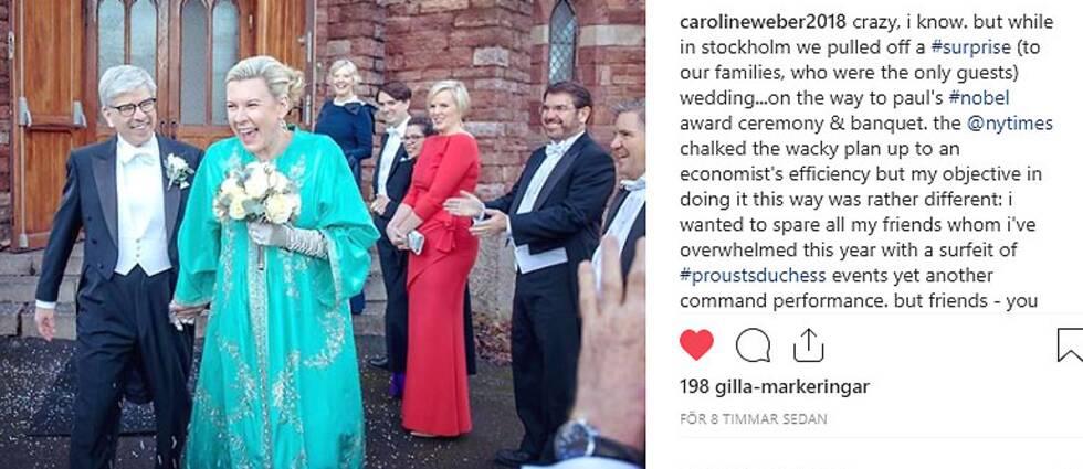 Paul Romer och Caroline Weber efter giftermålet i Engelska kyrkan.