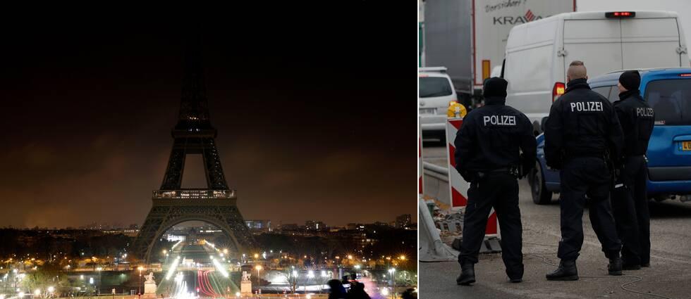 Eiffeltornet släcktes ner under natten till torsdagen för att hedra offren efter dådet i Strasbourg. Samtidigt bevakar tysk polis gränsen mot Frankrike i jakten efter mannen.