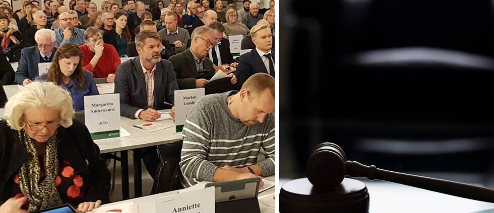 Politiker vid bord på möte. Närbild på ordförandeklubba.