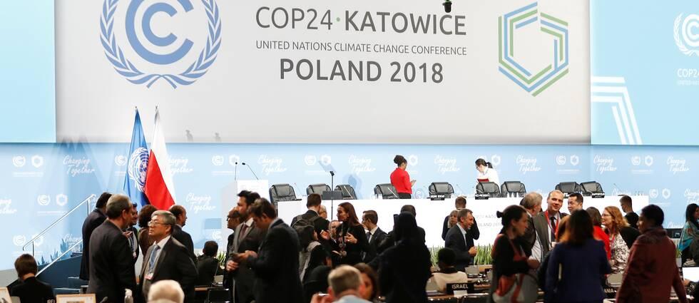 Förhandlingar på klimatmötet i Katowice i Polen.