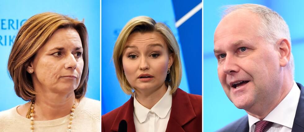 Miljöpartiet, Kristdemokraterna och Vänsterpartiet vill stoppa svensk vapenexport till länderna i Jemenkriget. På bilden syns Isabella Lövin (MP), Ebba Busch Thor (KD) och Jonas Sjöstedt (V).
