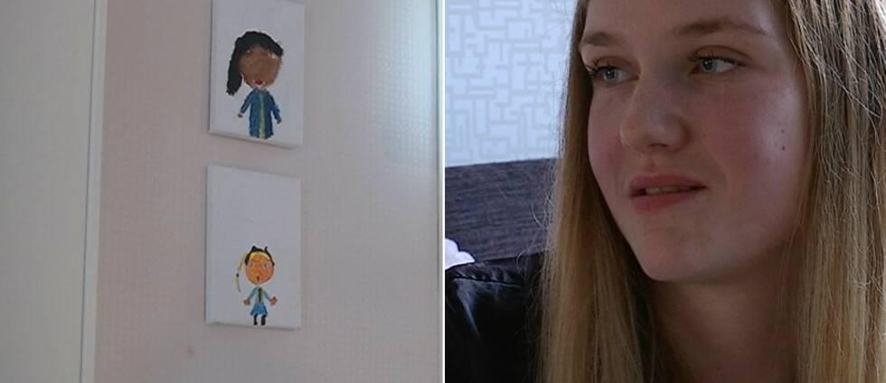 En bild på en ung kvinna och på två bilder på barn som Araya ritat själv.