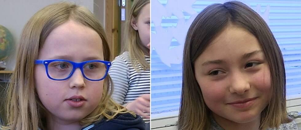 Olle Toutien och Molly Kankan i årskurs 4 tycker att det är kul med VM temat i skolan.