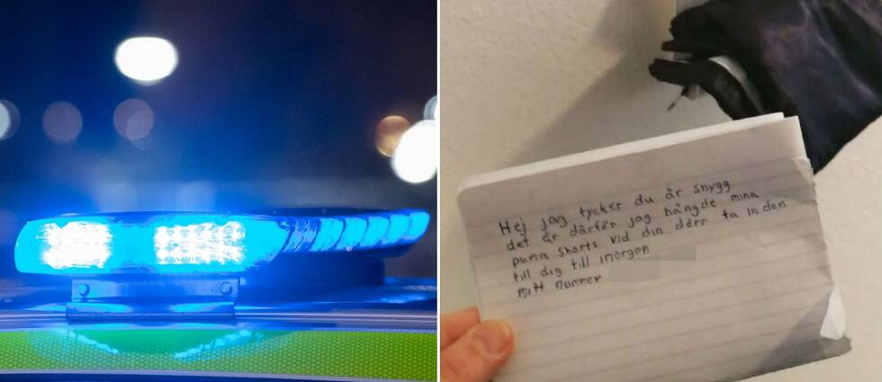En delad bild. Den vänstra sidan visar blinkande blåljus på en polisbil. Den högra delen visar en handskriven papperslapp med texten: Hej jag tycker att du är snygg det är därför jag hängde mina puma shorts vid din dörr. ta in dem till dig till imorgon.